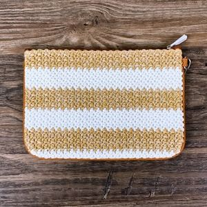 Thirty One Rubie straw stripe cosmetic zip pouch